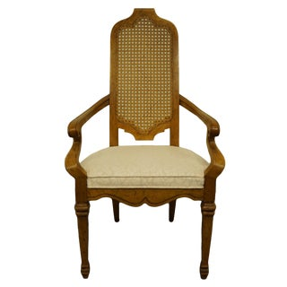 Late 20th Century Vintage Heritage Furniture Tuscan Style Cane Back Dining Arm Chair For Sale