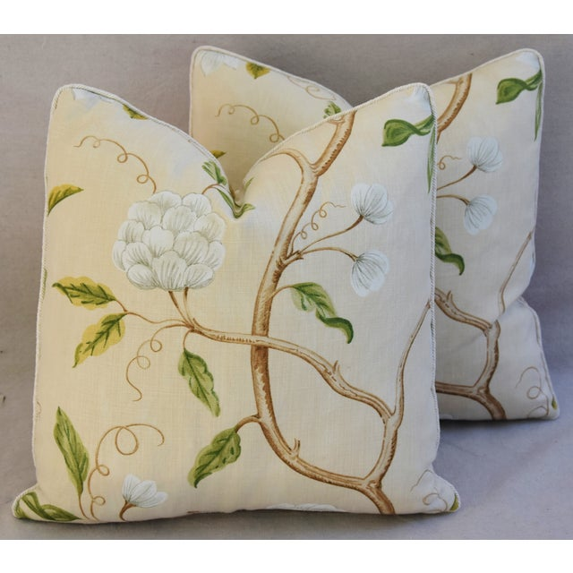 """Pair of large reversible custom-tailored pillows in a vintage/never used Cowtan & Tout fabric called """"Snow Tree"""" by..."""