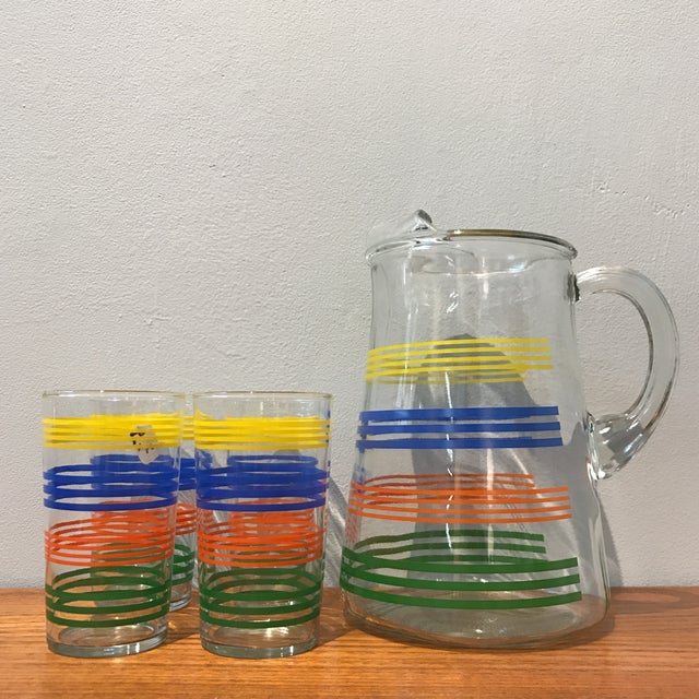 Deco Striped Pitcher and Glasses - Set of 4 - Image 2 of 4