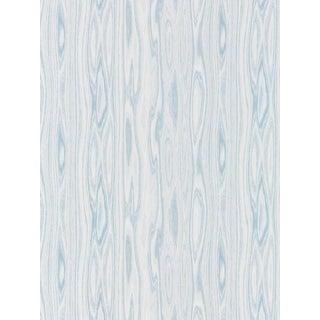 Sample, Scalamandre Faux Bois Weave, Blue Ice Fabric For Sale