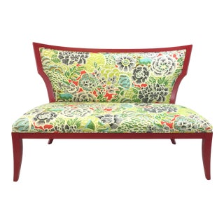 Currey & Co. Transitional Floral Print Garbo Settee For Sale
