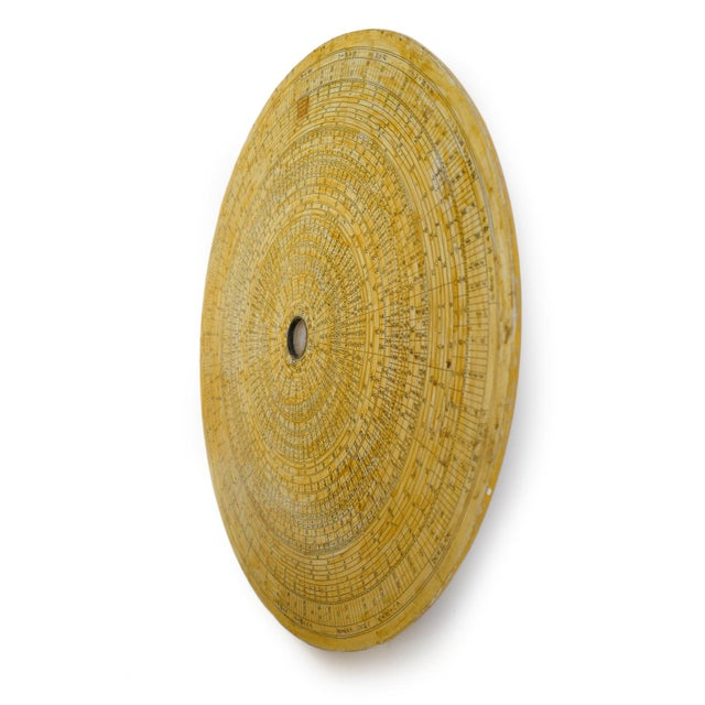 Vintage Chinese astronomy star chart disk. Circular wood carved plate with yellow paper application depicting the northern...