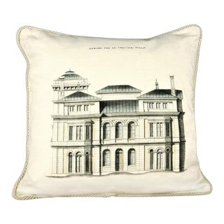 Design for an Italian Residence Linen Architecture Pillow For Sale