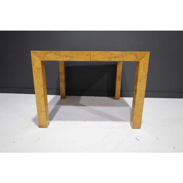 Milo Baughman Milo Baughman Olivewood Burl Parsons Dining Table For Sale - Image 4 of 13