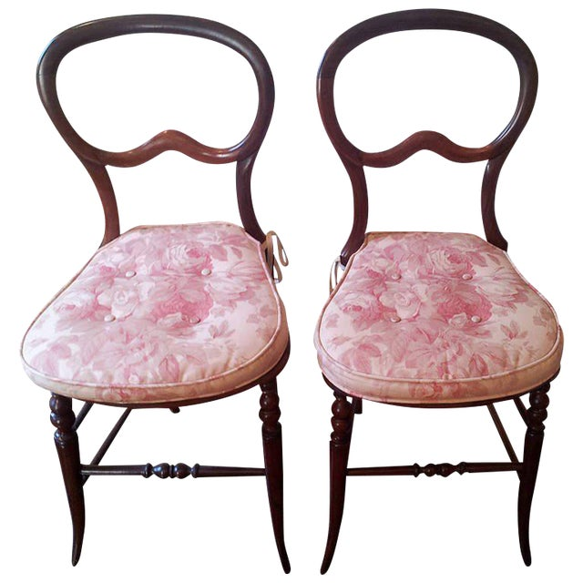 Pair of Mahogany Balloon-Back Chairs/Bennison Seats - Image 1 of 9