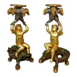 Austrian Patinated Figural Candlesticks - a Pair For Sale