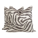 Image of Ivory and Chocolate Zebra Pattern Pillows, a Pair For Sale
