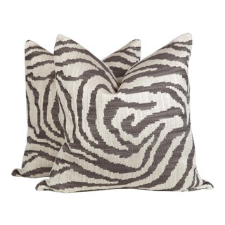 Ivory and Chocolate Zebra Pattern Pillows, a Pair For Sale