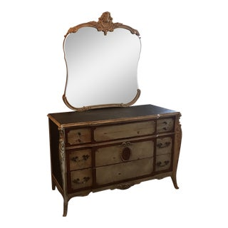 1920s French Provincial Gold Wood Mirror and Dresser