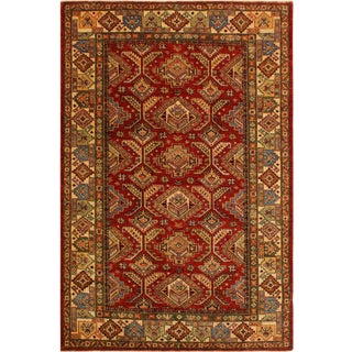 Super Kazak Garish Garth Red/Ivory Wool Rug - 4'11 X 6'4 For Sale