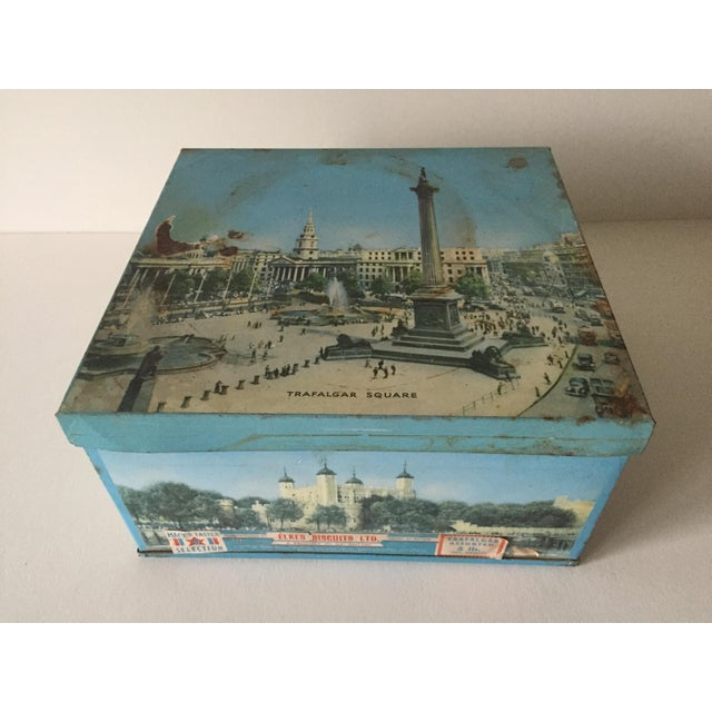 This authentic vintage 1940's Elkes Ltd. large square English biscuit tin box with lid is a very special and unique piece...