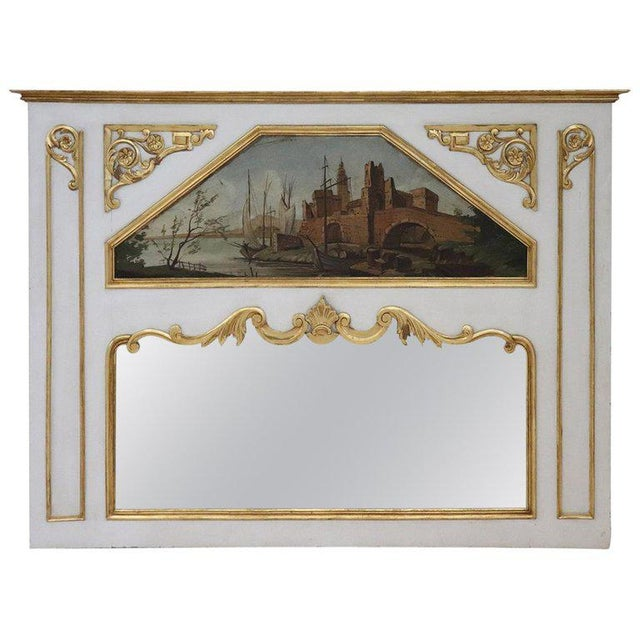 20th Century, Italian Louis XVI Style Wood Lacquered and Gilded Fireplace Mirror For Sale - Image 13 of 13