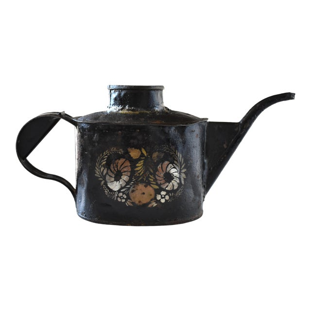 Antique 1830s Americana Painted Gold and Silver Tole Watering Pot For Sale