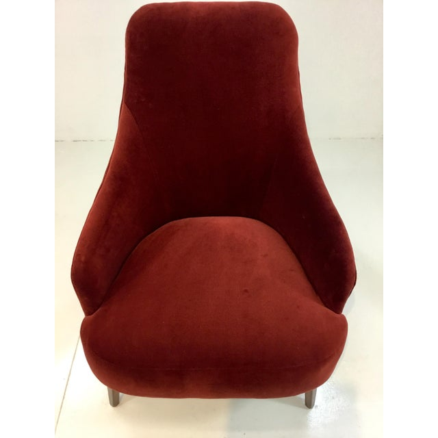 Transitional Drexel Heritage Clay Velvet Curl Club Chair For Sale - Image 3 of 6
