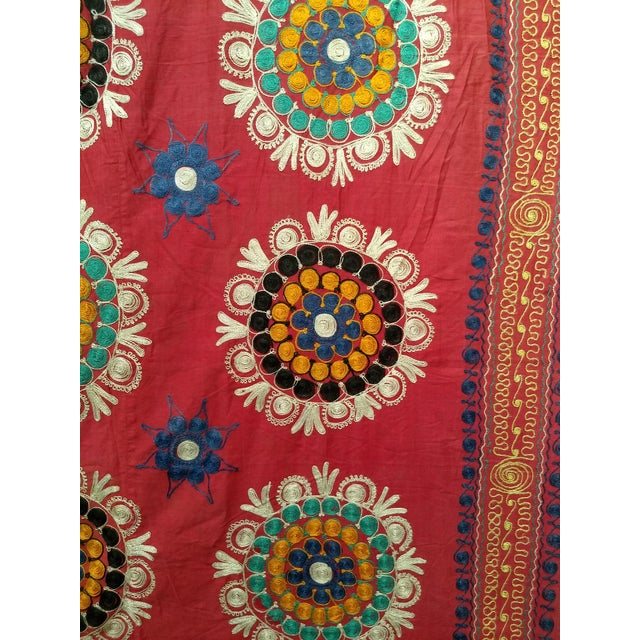Vintage Uzbek Suzani Silk Embroidery Textile For Sale - Image 4 of 7