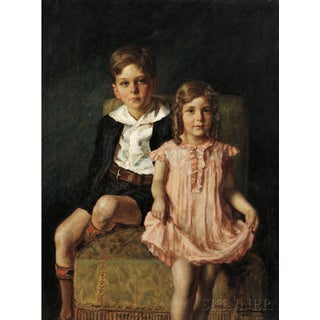 "1930s ""Portrait of a Brother and Sister"" Portrait Painting by Nikol Schattenstein For Sale"
