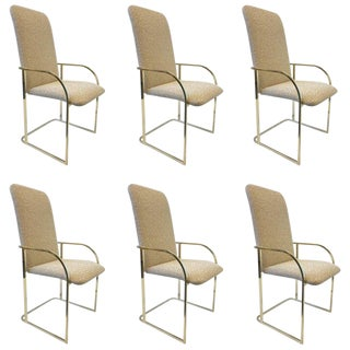 1980s DIA Brass High Back Dining Chairs - Set of 6 For Sale