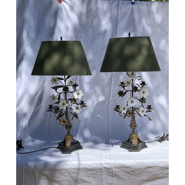 Brass Antique Late 19th Century French Brass Milk Glass Lily Lamps - a Pair For Sale - Image 8 of 8