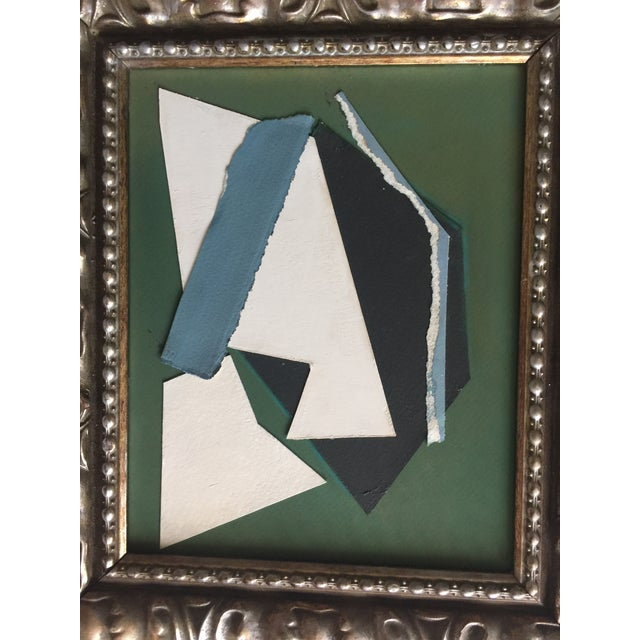 Abstract collage painting by Kimberly Moore. Green, black, white and blue. Silvered frame. Acrylic paint, pastels, paper,...