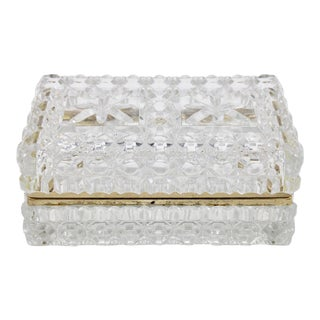 Large Mid 20th Century French Crystal Jewelry Box For Sale