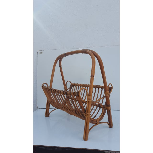 Cute vintage mid-century wicker magazine rack by the Italian Designer Franco Albini , basket style design , organic and...