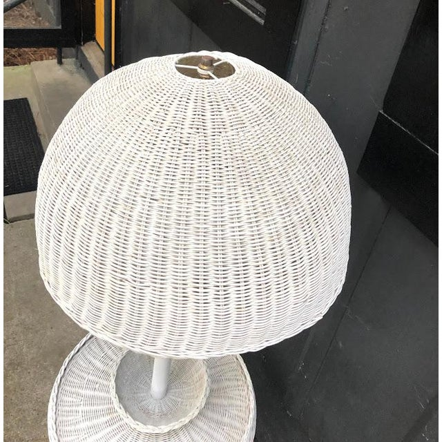 White 1960s White Wicker Turtle Floor Lamp For Sale - Image 8 of 11