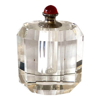 Heavy Faceted Glass Perfume Bottle For Sale