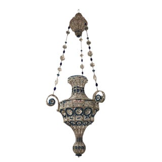 1940s French Art Modern Beaded Glass Lantern, Attributed to Baguès For Sale