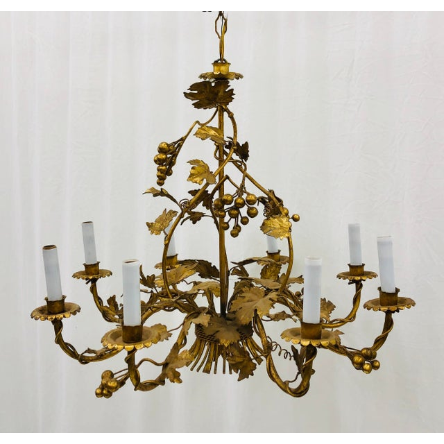 Metal Antique French Gilded Ivy Chandelier For Sale - Image 7 of 13