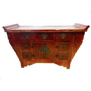 """Cantonese Altar Table Bat Fu Chest 57"""" W by 32.5"""" H For Sale"""