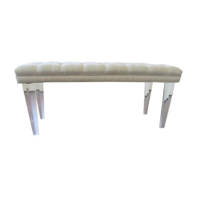 Tufted Silk & Velvet Lucite Bench - Image 1 of 6