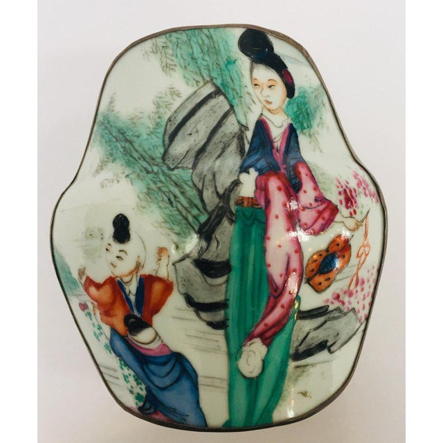 Vintage Trinket Metal Box With Porcelain Top Hand Painted Asian Scene For Sale - Image 13 of 13