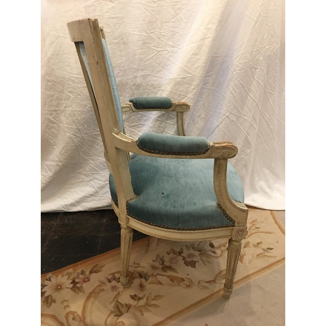 Louis XVI Styled Painted Armchairs in Blue Velvet - a Pair For Sale - Image 6 of 10