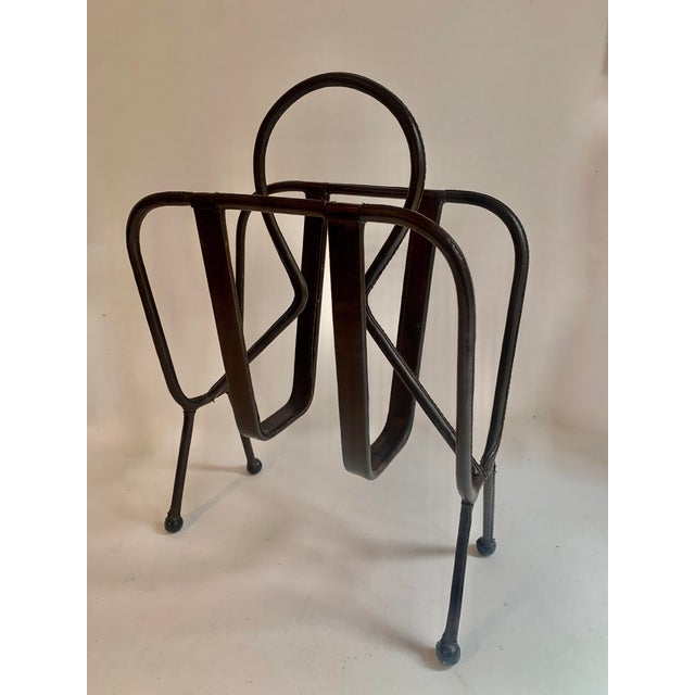 Mid-Century Modern Jacques Adnet Leather Magazine Rack For Sale - Image 3 of 11
