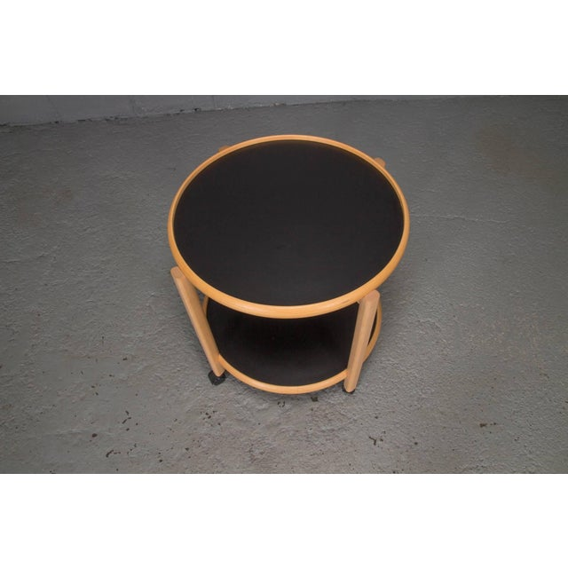 Mid-Century Modern Two-Tier Reversible Top Beech and Laminate Side Table on Casters For Sale - Image 3 of 6