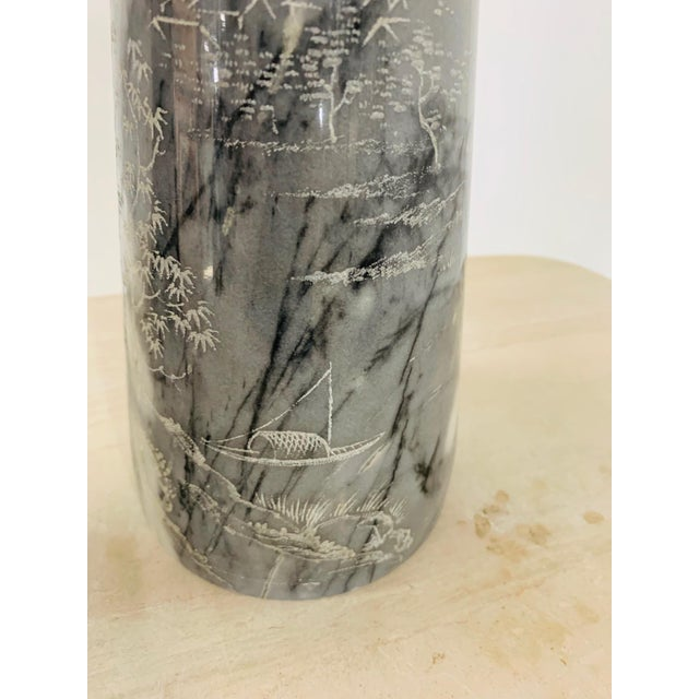 Pair of Etched Asian Themed Marble Lamps For Sale In New York - Image 6 of 8