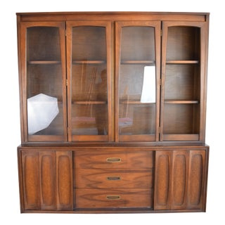 Mid Century Modern China Cabinet With Three Drawers. For Sale