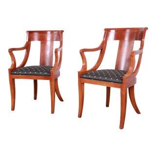 Baker Furniture Cherry Wood Regency Armchairs, Pair For Sale