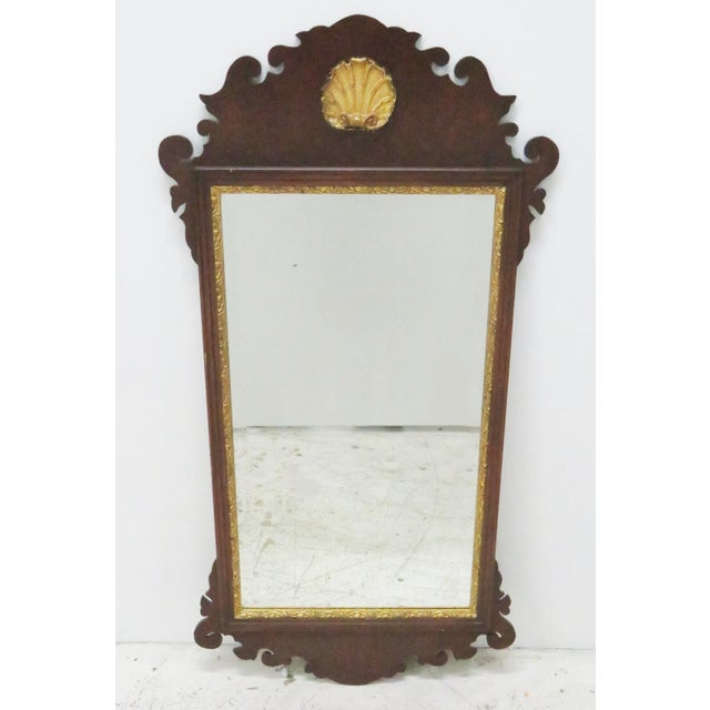 Chippendale Style Mahogany Mirror W/ Gilt Shell Motif For Sale - Image 4 of 4