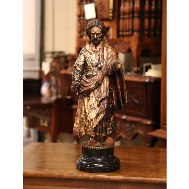 Black Marble Early 18th Century Italian Carved Polychromed Sculpture of Christ on Marble Base For Sale - Image 7 of 7