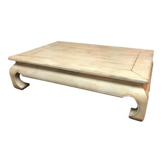 Rustic Solid Wood Coffee Table in a Scrubbed White Finish For Sale