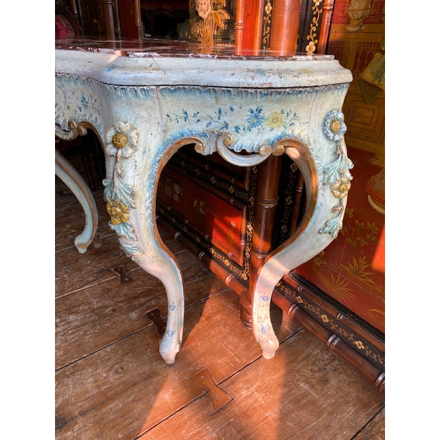 White 19th C. Venetian Painted White and Blue Console For Sale - Image 8 of 13