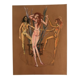 1950s Charles E. Harris Female Nude Coven Pastel Drawing For Sale