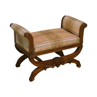 Fine Quality French Louis XV Style Carved Bench For Sale