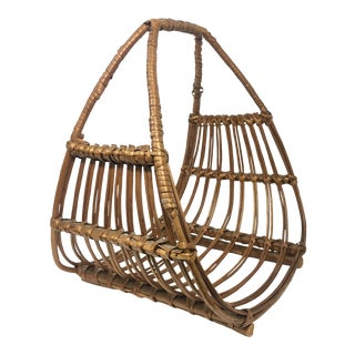 Franco Albini Attributed Rattan Magazine Rack For Sale