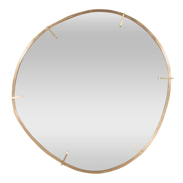 Sophisticated Custom Handmade Organic Modernist Mirror in Burnished Brass - Image 1 of 4
