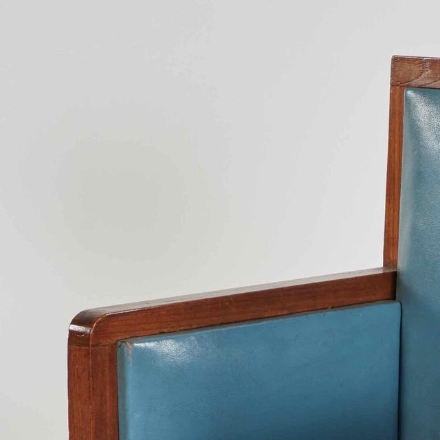 Art Deco Wooden Armchair Upholstered in Blue Leather From France For Sale - Image 4 of 5