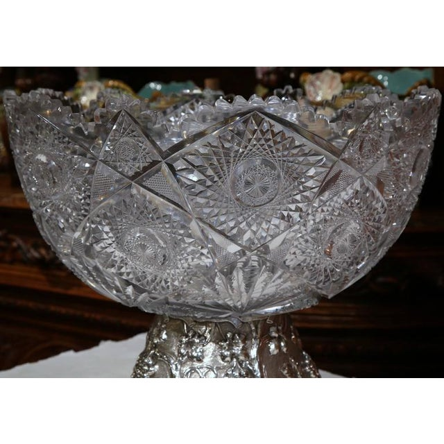 French 19th Century French Cut-Glass Punch Bowl With Silver Repousse Base For Sale - Image 3 of 9