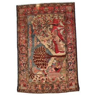 1920s Handmade Antique Persian Malayer Rug - 3.9' X 6' For Sale