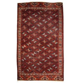 1880s Hand Made Antique Turkoman Yomud Rug - 6′4″ × 10′10″ For Sale
